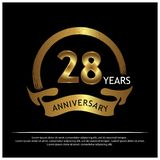 Achtundzwanzig Jahre Jahrestag golden Jahrestagsschablonenentwurf für Netz, Spiel, kreatives Plakat, Broschüre, Broschüre, Fliege stock abbildung