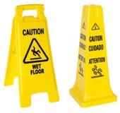 Achtung: Nasse Fußbodenzeichen Stockbilder