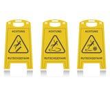 Achtung rutschgefahr. Three achtung rutschgefahr, yellow color stock illustration