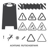 Achtung rutschgefahr icons Stock Images