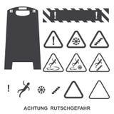 Achtung rutschgefahr icons. Set achtung rutschgefahr, black and white Royalty Free Illustration