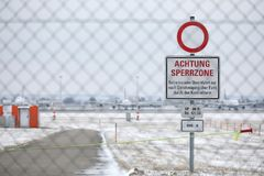 Achtung Sperrzone plate in Munich Airport MUC Royalty Free Stock Photography