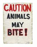 Achtungtiere können Zeichen beißen lizenzfreie stockfotos