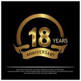 Achtzehn Jahre Jahrestag golden Jahrestagsschablonenentwurf für Netz, Spiel, kreatives Plakat, Broschüre, Broschüre, Flieger, Zei vektor abbildung