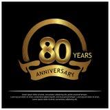 Achtzig Jahre Jahrestag golden Jahrestagsschablonenentwurf für Netz, Spiel, kreatives Plakat, Broschüre, Broschüre, Flieger, Zeit stock abbildung