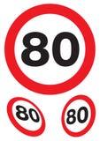 Achtzig Meilen pro Stunde Drehzahlzeichen Stockbilder