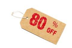 Achtzig Prozent weg vom Rabatt - ein Papier-Preis auf weißem backgro Lizenzfreie Stockfotografie