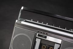 achtziger Jahre silbernes Radioghettoblaster Stockfoto