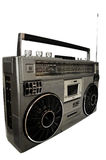 achtziger Jahre silbernes Retro-, Ghettoblaster und Kopfhörer lokalisiert auf Weiß Lizenzfreies Stockbild