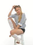 achtziger Jahre themenorientiertes Trieb - Tänzer mit Beinwärmern Stockfotos