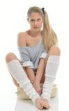 achtziger Jahre themenorientiertes Trieb - Tänzer mit Beinwärmern Stockbilder