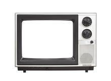 achtziger Jahre tragbarer Fernseher mit dem leeren Schirm lokalisiert Stockfoto