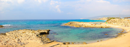 Achziv Beach Panorama, Israel Stock Photo