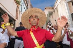 ACI TREZZA, ITALIEN - JUNI, 24 2014 - traditionelle Paradefeier San Giovanni Stockfotos