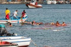 ACI TREZZA, ITALIEN - JUNI, 24 2014 - traditionelle Paradefeier San Giovanni Lizenzfreie Stockfotos