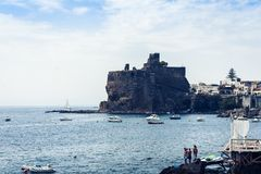 Acicastello – ancient norman castle in Acitrezza, Catania, Sicily, Italy royalty free stock photography