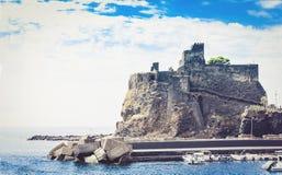 Acicastello – ancient norman castle in Acitrezza, Catania, Sicily, Italy.  stock images