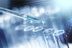 Acid. Analysis beaker biology biotech biotechnology blue royalty free stock photography