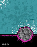 Acid club speakers. Illustration on grunge background ready for your own text Stock Photography