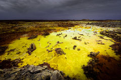 Acid color from the Dallol. This water pound at the top of the Dallol volcanoe in Ethiopia is satured in sulfuric acid which gives its yellow color Stock Image