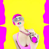 Acid crazy party. Glamour girl explodes Stock Photo