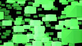 Acid-green cubes of crystals gathering and disintegrating into a wall stock video