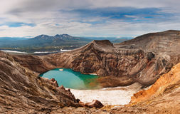 Acid lake in volcanic crater Royalty Free Stock Image