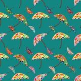 Acid mushrooms seamless vector pattern Stock Photos