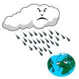 Acid rain. And planet Earth  illustration Royalty Free Stock Image