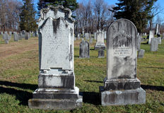 Acid rain in cemetery. Tombstone damage from acid rain Kinderhoook, New York stock image