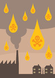 Acid Rain. An  illustration depicting the effects of toxic air pollution on the environment,  in the form of Acid Rain Stock Photos