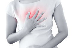 Acid Reflux Disease Symptoms. Girl with symptomatic acid reflux, isolate on white background Stock Photo