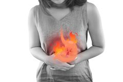 Acid Reflux Disease Symptoms Or Heartburn. The Photo Of Cartoon Stomach On Woman `s Body Against White Background, Acid Reflux Disease Symptoms Or Heartburn vector illustration