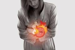 Acid reflux disease symptoms vector illustration