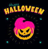 Acid rockabilly pumpkin. Halloween greeting card. Vector illustration of a pumpkin with a male rockabilly hairstyle. Vibrant colors on a black background, square Stock Photos