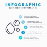 Acide gras, huile de poisson, graisse saine, huile naturelle, ligne icône d'Omega avec le fond d'infographics de présentation de  illustration stock