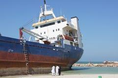 Acidente aterrado do navio de carga Imagem de Stock Royalty Free