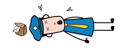 Acidente - correio Guy Vetora Illustration dos desenhos animados do carteiro ilustração royalty free