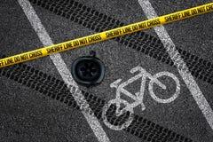 Acidente da bicicleta na pista da bicicleta Fotografia de Stock