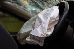 Acidente da bolsa a ar com vidro quebrado Fotos de Stock Royalty Free