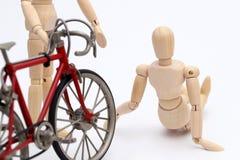 Acidente da colisão da bicicleta e da pessoa Fotografia de Stock