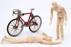 Acidente da colisão da bicicleta e da pessoa Fotos de Stock Royalty Free