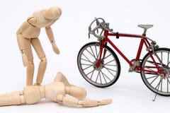 Acidente da colisão da bicicleta e da pessoa Imagens de Stock Royalty Free