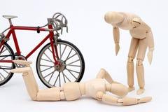 Acidente da colisão da bicicleta e da pessoa Foto de Stock Royalty Free