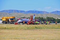 Acidente de avi?es no aeroporto de Alicante imagem de stock royalty free