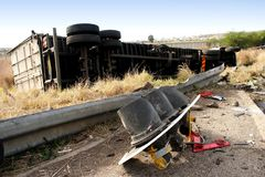 Acidente do caminhão Fotografia de Stock