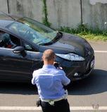 Acidente do esmagamento do carro imagens de stock