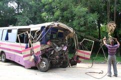 Acidente do ônibus Fotografia de Stock Royalty Free