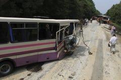 Acidente do ônibus Fotografia de Stock