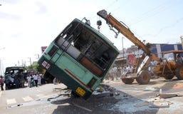 Acidente do ônibus Imagens de Stock Royalty Free